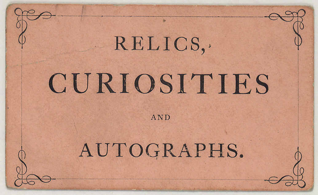 Ephemera-Advertisement-Calling-card-Relics-Curisioties-and-Autographs